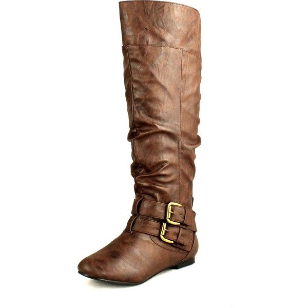Nature Breeze Womens Vickie-20 Flat Faux Leather Slouch Knee High... ($45) ❤ liked on Polyvore featuring shoes, boots, wedge flats, flat boots, wide knee high boots, slouchy flat boots and slouchy knee high boots