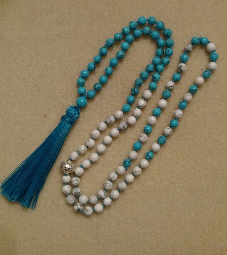 Awareness Mala #2 Blue and White Howlite