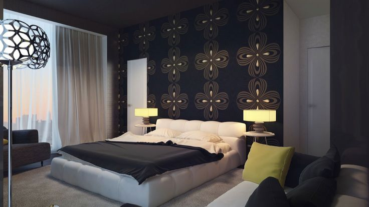 Bold Artistic Wall Decorations for Bedroom : Black Dark Brown Swirl Wall Feature Bedroom