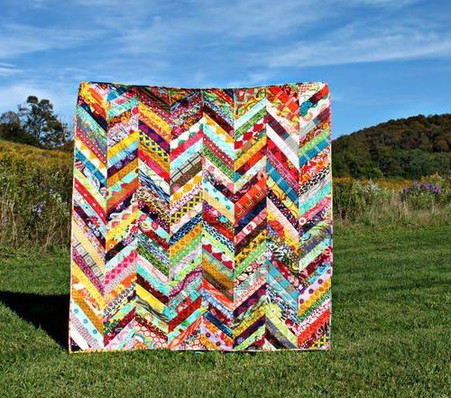 Scrappy Herringbone Quilt Tutorial | Use your prettiest scraps to make a gorgeous herringbone quilt!