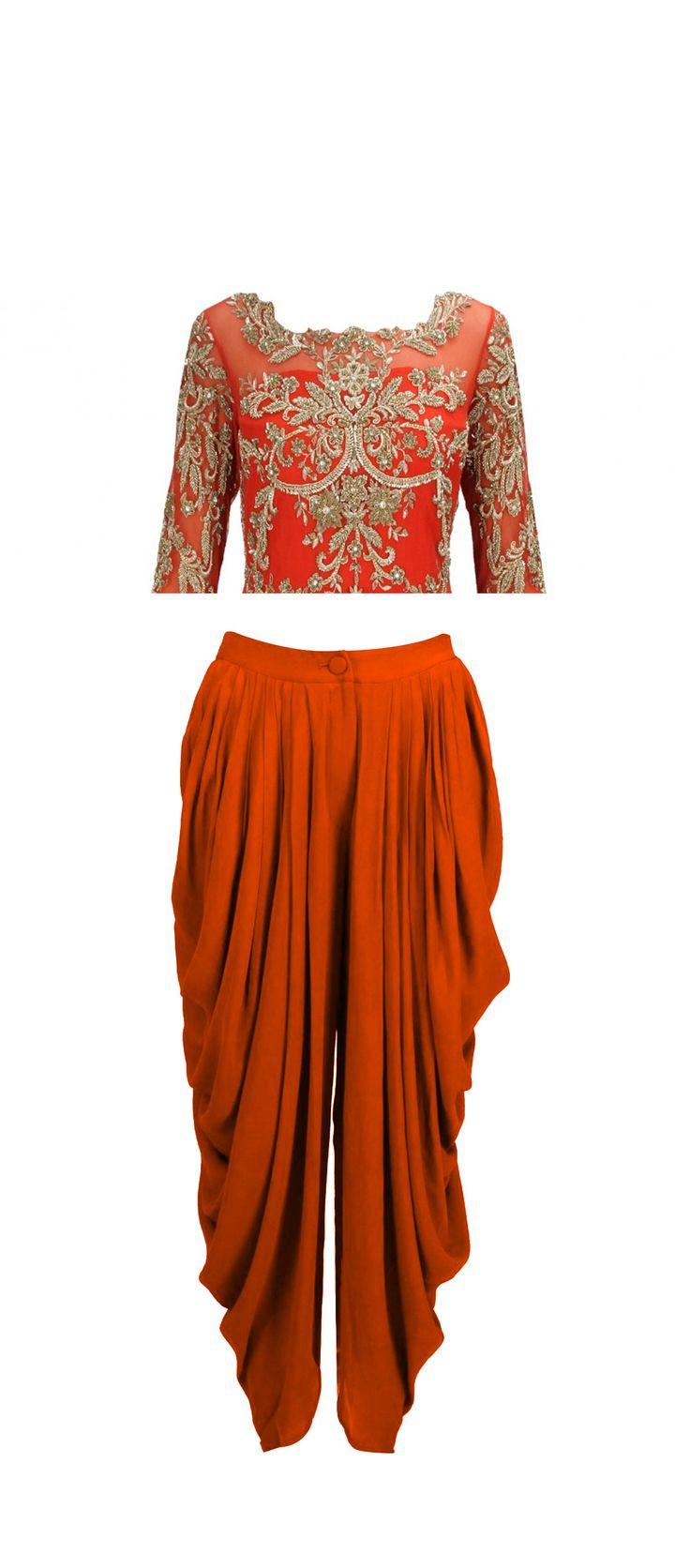 love this color combo, orange and silver. Perhaps a sari version?
