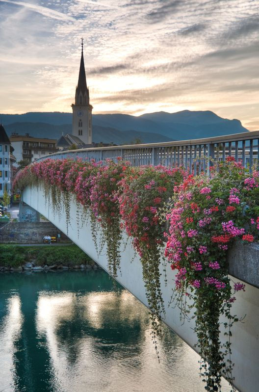 Sunset in Villach, Austria We actually walked across this bridge at sunset. Have similar picture
