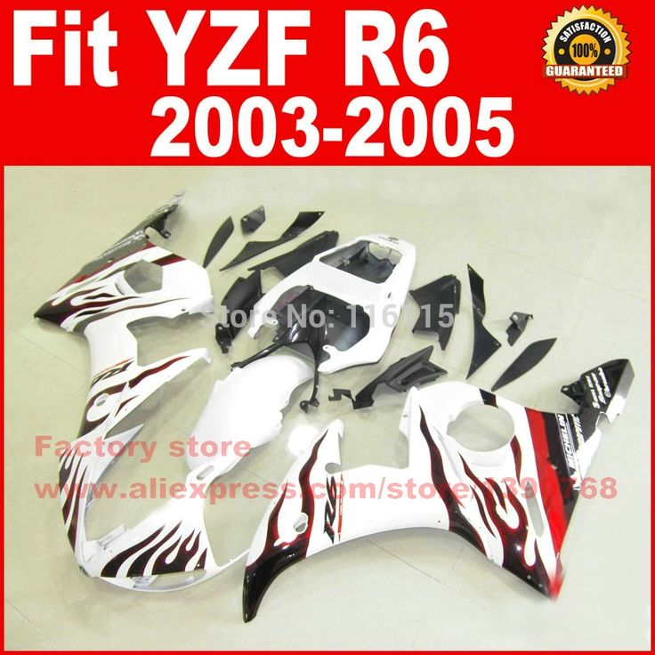 304.00$  Watch here - http://aliu4s.worldwells.pw/go.php?t=32291573838 - Road/race body fairings kit for YAMAHA R6 2003 2004 2005 YZF R6 03 04 05 YZFR 600 white with red flame fairing bodywork part