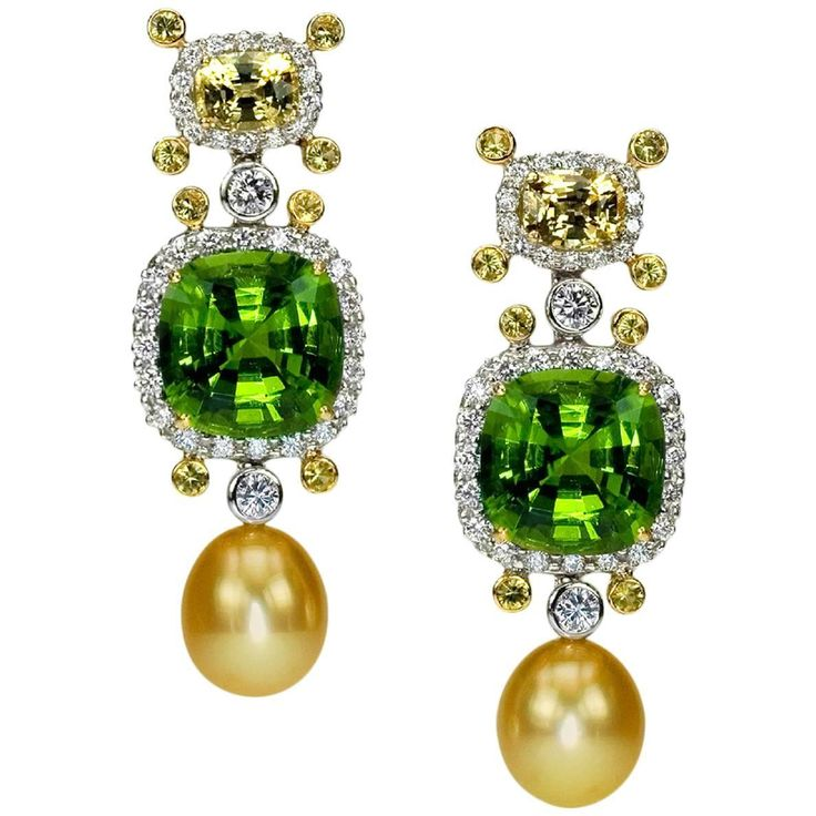 Peridot Sapphire Golden South Sea Pearl Diamond Gold Platinum Drop Ear-clips .