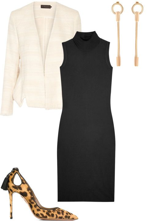 5 interview-proof outfits that will land you the job: A black sleeveless turtle neck dress, a cream blazer, leopard heels, and long earrings