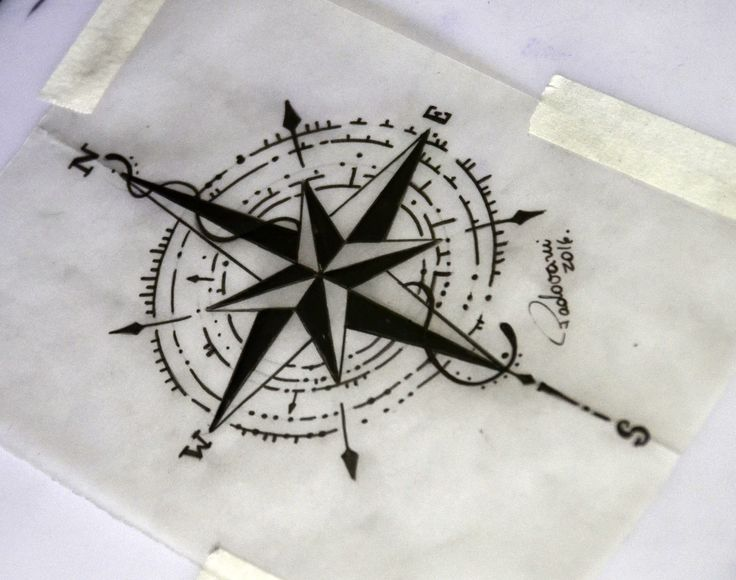 compass tattoo sketch- Thiago Padovani