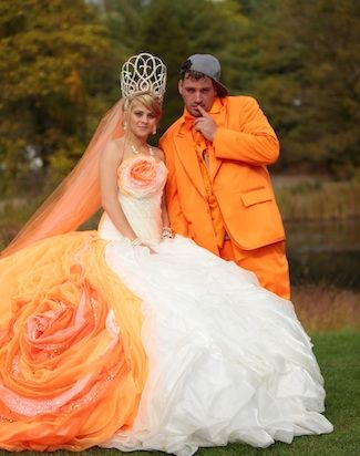 Poofy orange/ivory dress and orange tux? What's not to love? From 'My Big Fat American Gypsy Wedding'