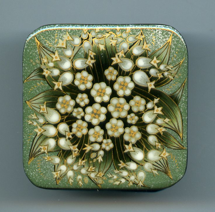 """Russian Lacquer box mstera """" Lilies of the valley"""" Hand Painted"""