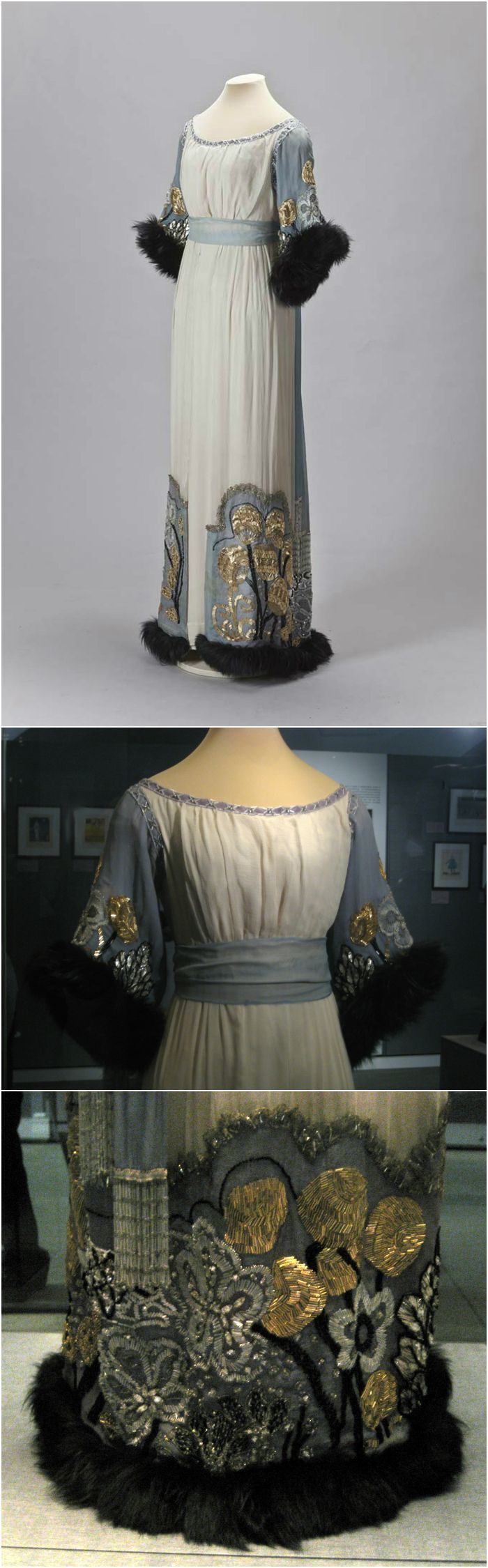 Evening dress by Anna Gindus' Workshop, St Petersburg, 1910s. The dress was originally found in the Novo-Mikhailovsky Palace, a Russian imperial residence. Photos courtesy of (Top): The State Hermitage Museum, St. Petersburg, via http://halloart.ru/showthread.php?t=944 (Middle & Bottom): Shakko on http://commons.wikimedia.org/wiki/Category:Paul_Poiret_%28Moscow_Kremlin_exhibition_2011%29