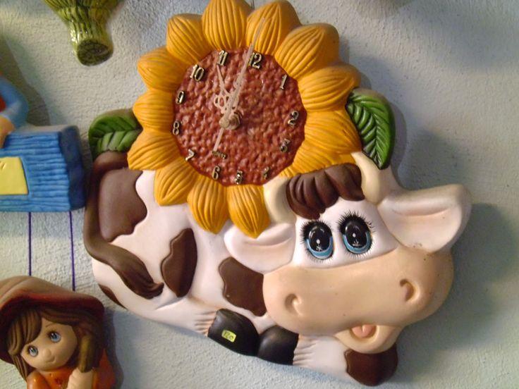 Paso a paso manualidades de ojos de vacas en ceramica buscar con google vacas pinterest - Manualidades relojes de pared ...