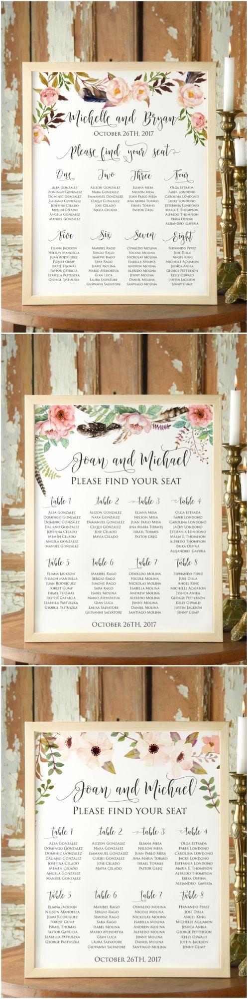 Boho Floral Wedding Table Plans #weddingideas #weddingstationery #weddingplanning #boho #floral #flowers #rustic #calligraphy