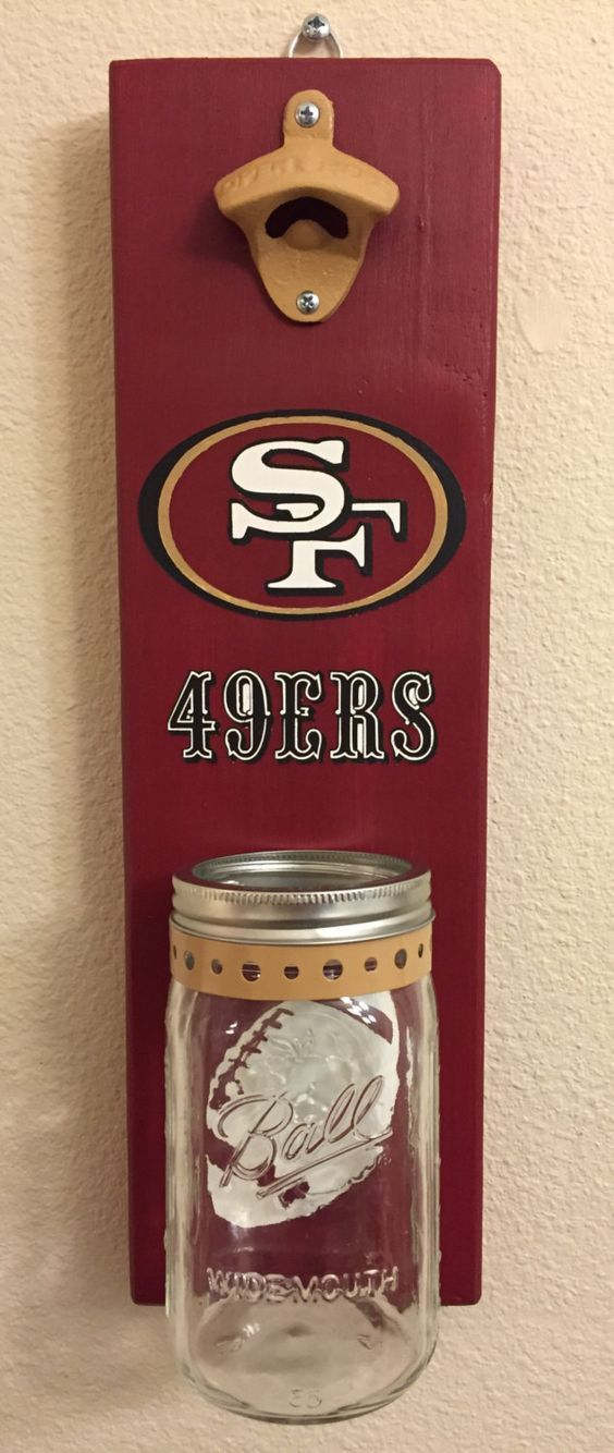 SF 49ers Bottle Opener with Mason Jar Rustic Football San Francisco 49ers SF – pinned by pin4etsy.com