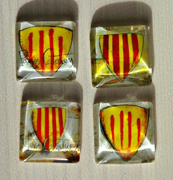 Square Catalonia Flag Snap Charm Noosa Style Snap by Monibu