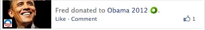 Obama donation Facebook feed story