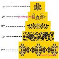 5 уровни 5 шт. в 1 комплект 6 - 14 дюймов украшение для свадебного торта украшения фондант трафарет фондант торт сторона инструменты ну вечеринку торт трафарет форма