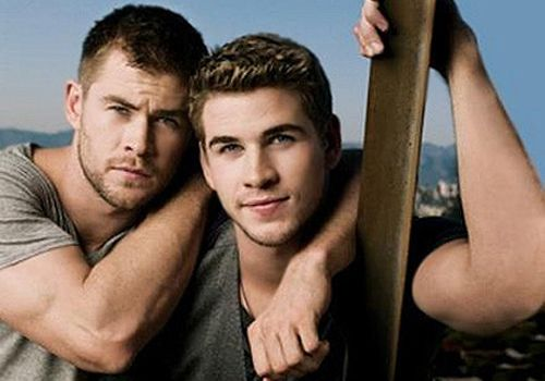 Liam (right) and Chris (left) Hemsworth....brothers..Chris played Thor...Liam was in that movie with Mylie Cyres