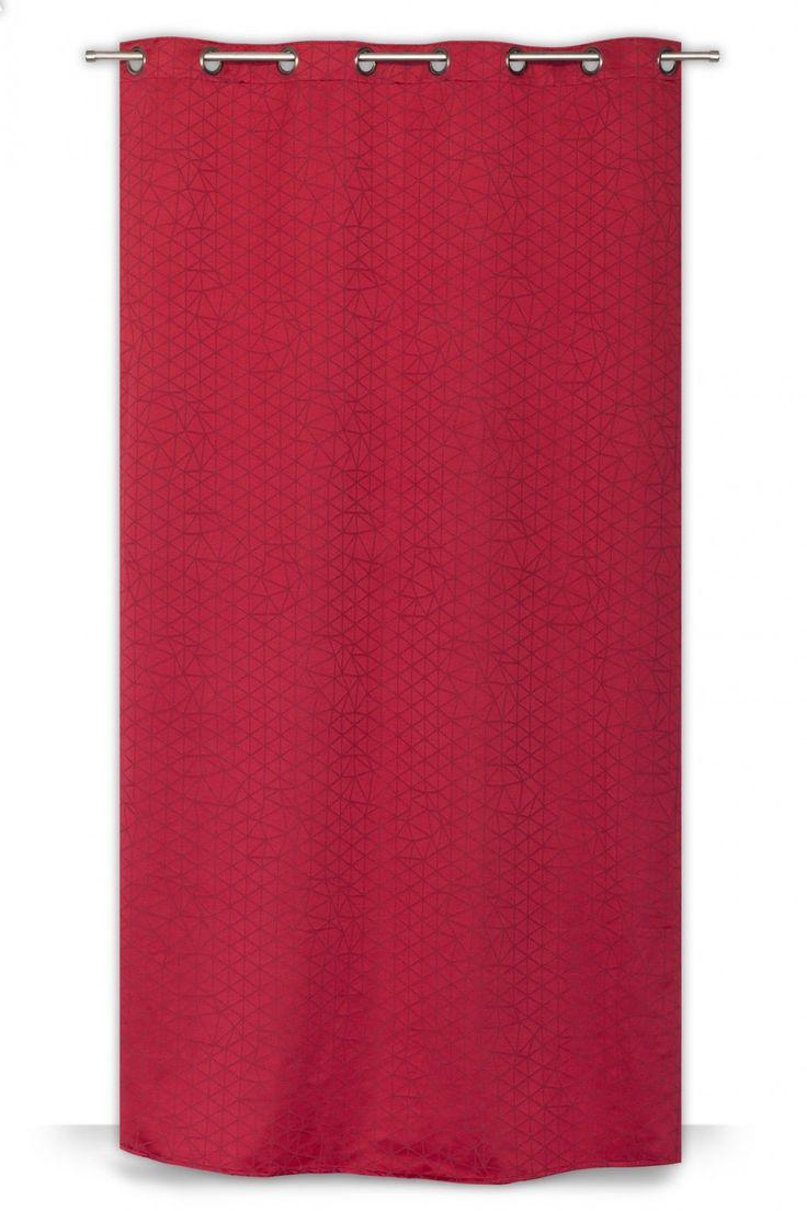 Rideau à Oeillets 135 x 260 cm Style Scandinave Motif Géométrique Ton sur Ton Rouge - RideauDiscount