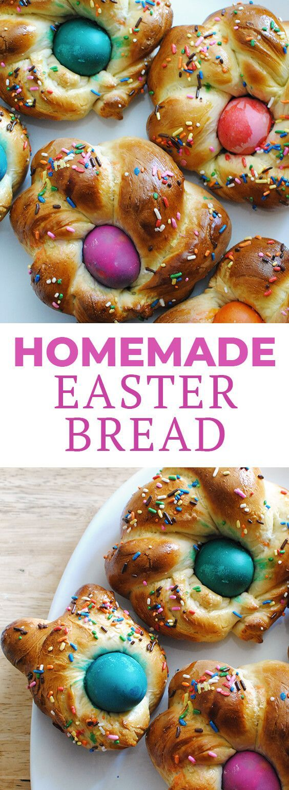 Looking for Easter ideas for Easter brunch? This easy, homemade Italian Easter bread recipe makes a great brunch dish for spring parties! Fill this bread recipe with dyed eggs and top with sprinkles! #letseatcake #bread #easter #easterbread #easterbrunch #brunch #easterfood #italian #italianrecipe #italianeasterbread #easterbreadrecipe #dyedeggs #eggs #easybread #springbread via @LetsEatCakeBlog