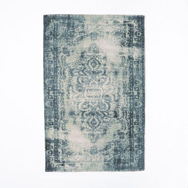 Distressed Arabesque Wool Rug - Midnight west elm