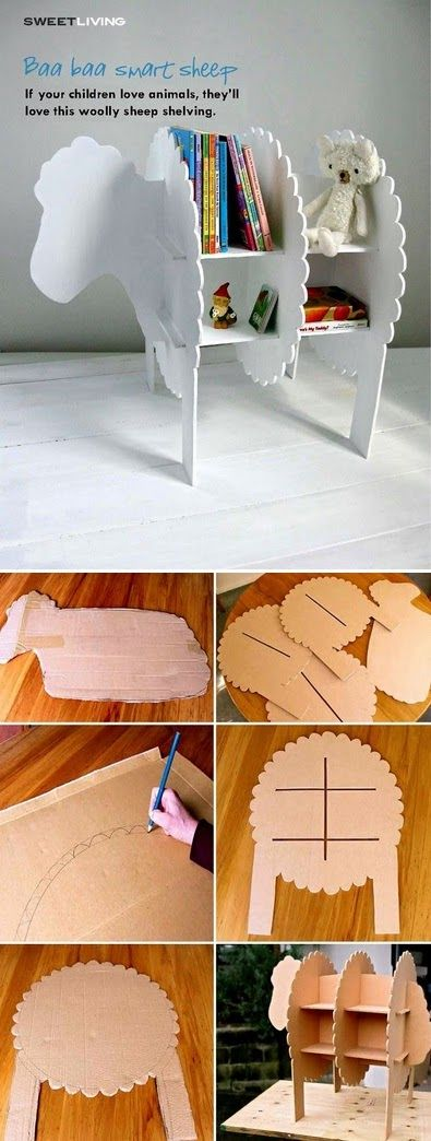 Not just for children, but also super cute for yarn storage.. DIY Sheep Bookshelves