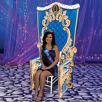 Royal Celebration Throne.  You could easily use your own chair.  But, in order to be like the Evil Queen's throne, you would definitely need the peacock background...