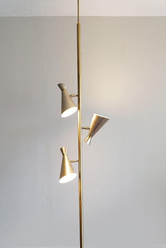 Vintage Gold Mid Century Tension Pole Lamp