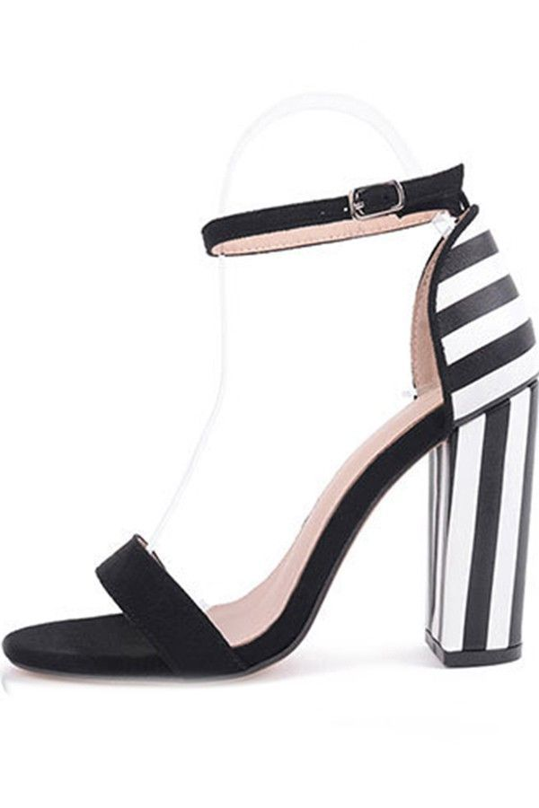 f1fe0894bc9 Black White Stripped Pu Ankle Strap Chunky Heels   Fashion High Heels Shoes