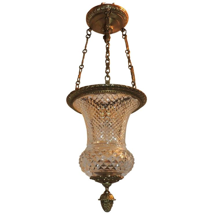 Wonderful French Neoclassical Dore Bronze Cut Crystal Lantern Fixture Pendent | From a unique collection of antique and modern lanterns at https://www.1stdibs.com/furniture/lighting/lanterns/