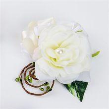 2 шт./лот искусственный цветок розы женщины наручные цветок жених бутоньерка невеста запястья корсажи свадебные цветы домашнее ну вечеринку декор(China (Mainland))