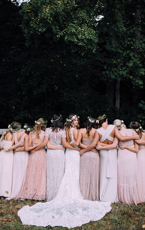 Boho Backyard Wedding in Virginia, Bride with Bridesmaids in Glittering Dresses