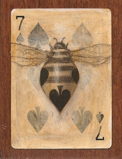 Seven Bee: Graphite pencil and acrylics on playing card mounted on salvaged wood 3x4 inches [card 2.5x3.5 inches]  |  Artist: © 2012-2014 SethFitts  |  http://sethfitts.deviantart.com/