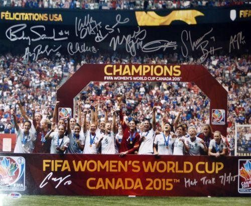 """2015 World Cup Autographed Signed 16x20 Photo 10 Sigs Lloyd """"hat Trick"""" - PSA/DNA Certified - Autographed Soccer Photos ** Visit the image link more details."""