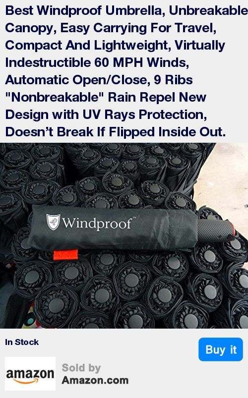 OUTSTANDING 9 RIB WINDPROOF UV PROOF FLEXIBLE DESIGN AND PROTECTION FROM EXTREME WEATHER Tired of cheap umbrellas that easily get broken even in a light wind? Our brand-new 9-rib design guarantees strong wind-defying protection capable of withstanding up to 60 MPH wind gusts. The new design allows this windproof umbrella to get fully turned inside out and it will not break, even then! Heavy-duty windproof technology guarantees that it doesn't break if flipped inside out * STURDY, PORTABLE AN