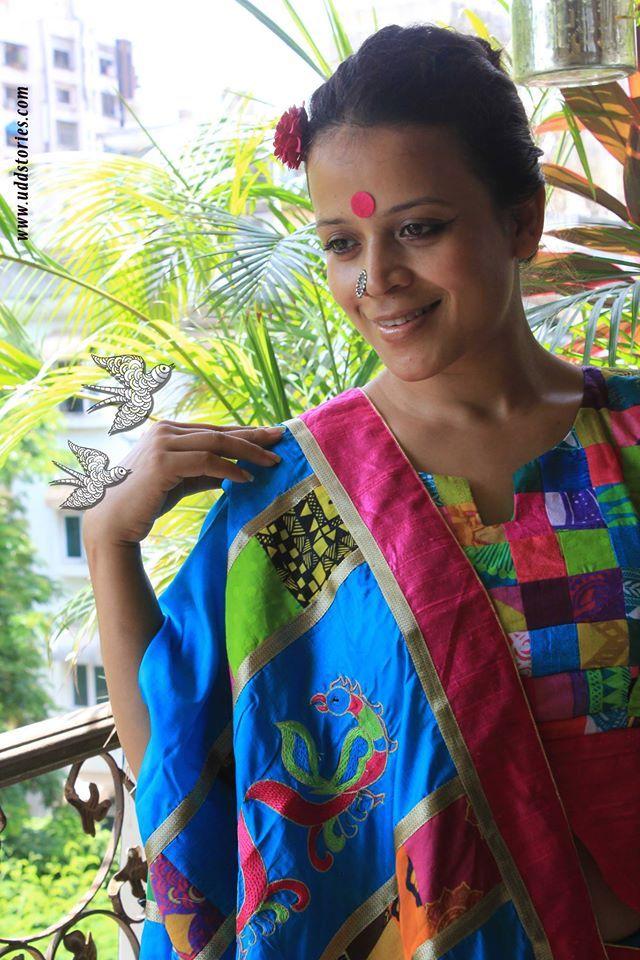 Embroidered Blue Silk Saree