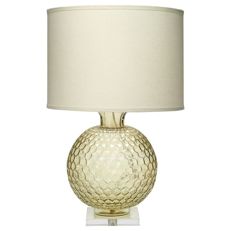 Faceted Glass Globe Table Lamp with Drum Shade – Taupe