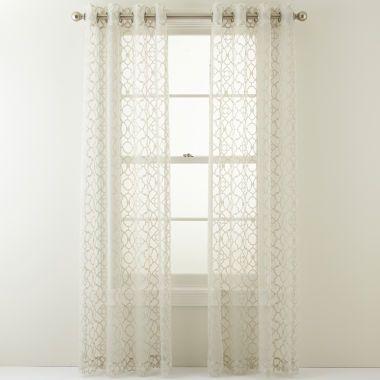 Royal Velvet Toretta Grommet Top Curtain Panel Antique Bronze Mineral Sage
