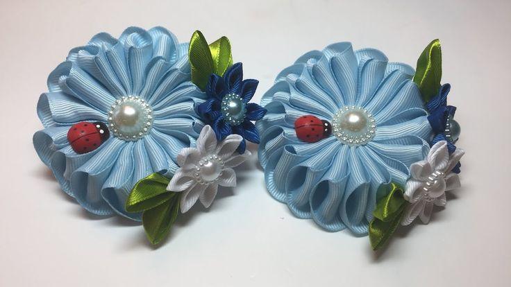Канзаши резиночка цветок из лент/МК/DIY/ Kanzashi  Scrunchy with flowers...