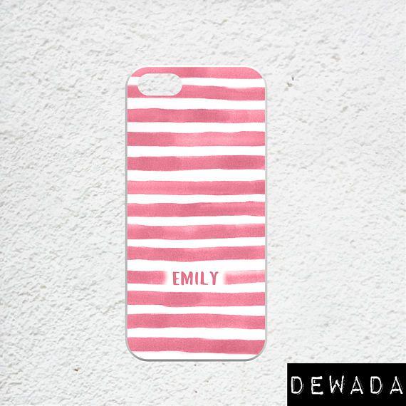 iphone 7 plus case monogram pink white stripes