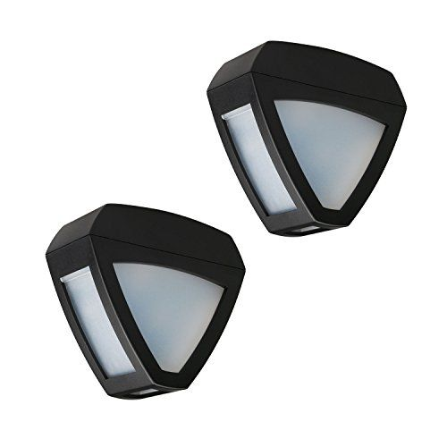 aleko lot of 2 solar powered led decorative light lamp for outdoor garden fence pathway stairs wall mounted light lamp step light check this awesome