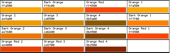 Wedding color orange any shade of orange alright no Shades of orange colour chart