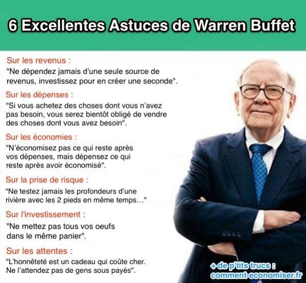 Warren Buffet fait partie des hommes les plus riches du monde. On peut dire qu'il a quelques connaissances en termes de gestion d'argent. Il nous livre aujourd'hui 6 astuces simples mais redoutablement efficaces !  Découvrez l'astuce ici : http://www.comment-economiser.fr/astuces-warren-buffet.html?utm_content=bufferbf96c&utm_medium=social&utm_source=pinterest.com&utm_campaign=buffer