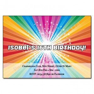 Rainbow Disco Invitations | Children's Party Invite