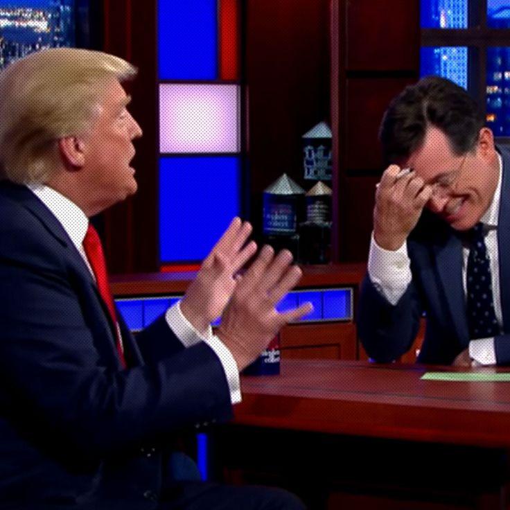Stephen Colbert couldn't quite keep it together interviewing Fuckface von Clownstick last night.