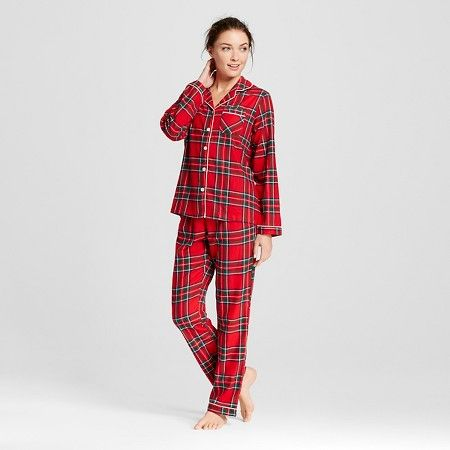 Women's Flannel North Collar Pajama Set Red S - Gilligan & O'Malley™ : Target