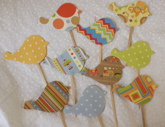 Bird Cupcake Toppers Children's Theme, Boy's Birthday, Gir'ls Birthday, Baby Shower