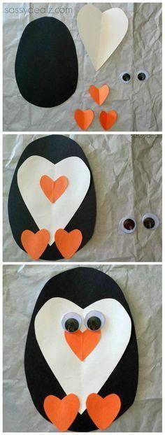 Paper Heart Penguin Craft For Kids #Valentines craft #DIY heart animal art proje…
