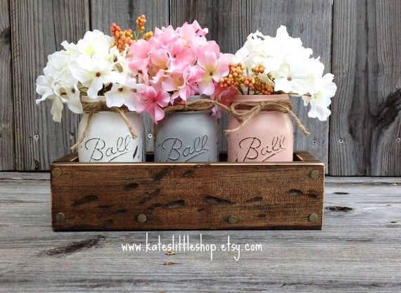 Rustic Planter Box with 3 Painted Mason Jars. Mason Jars. Rustic Home Decor.