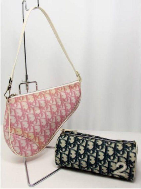 aef3653e310 Vintage 90 s Christian Dior Trotter Monogram Saddle Bag Combo with Navy  Case Canvas Bag