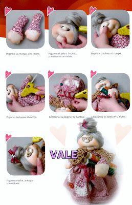 Como Fazer Tudo em Artesanato: Moldes Grátis de Bonecas Vovó Costureira