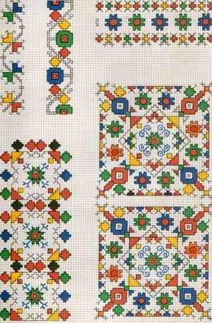 Pretty design and great colors. Cross stitch squares